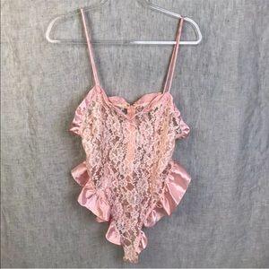 Vintage Victoria's Secret Teddy Pink Lace Large